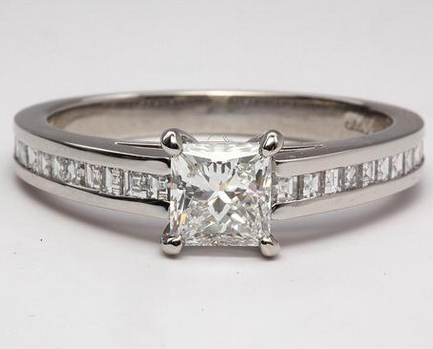 Channel Set Engagement Ring with Carre Diamonds in Platinum