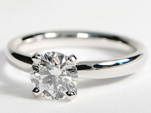 Classic Solitaire Comfort Fit 14k White Gold Engagement Ring