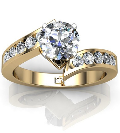 Crossover Channel Set Engagement Ring in 14k Yellow Gold