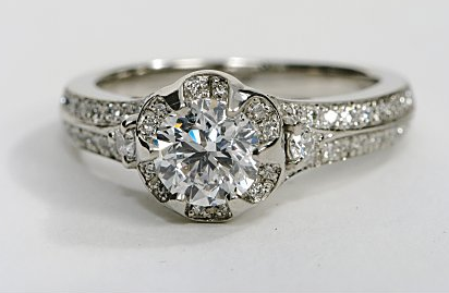Designer Floral Engagement Ring in Platinum