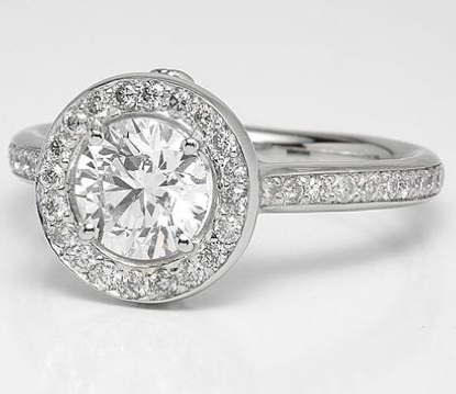 Designer Halo and Pave Engagement Ring in Platinum
