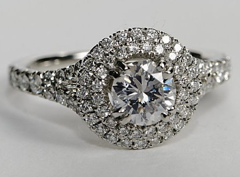 Double Halo Engagement Ring in Platinum