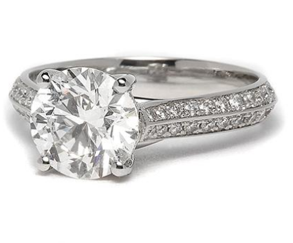 Double Pave Engagement Ring in Platinum