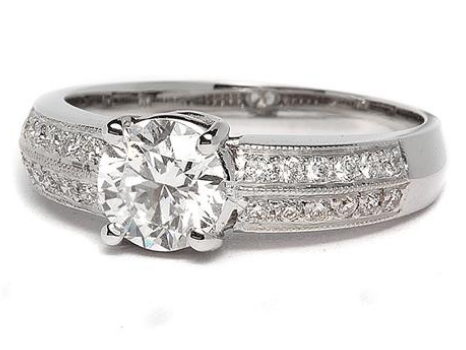 White Gold Double Pave Engagement Ring