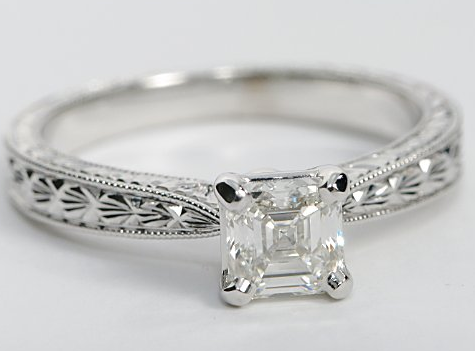 Hand Engraved Solitaire Engagement Ring in White Gold