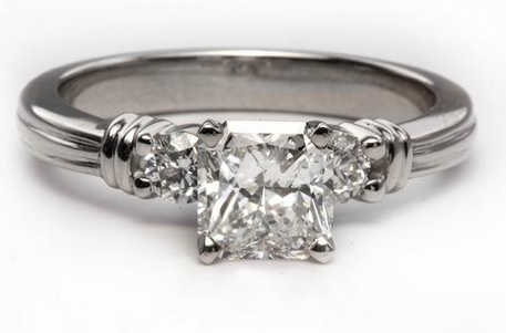 Grooved Platinum Side Stone Engagement Ring