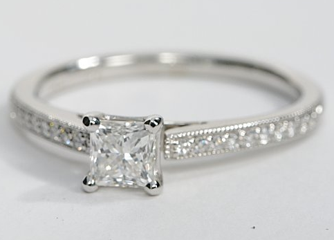 Vintage Heirloom Pave Engagement Ring in White Gold