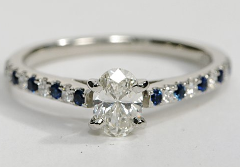 Platinum Engagement Ring with Diamond and Sapphire Micropave Sidestones