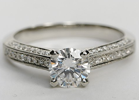 Milgrained Cathedral Pave Diamond Engagement Ring in Platinum