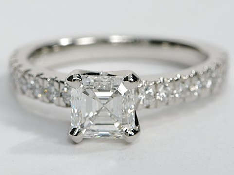 Nouveau Pave Engagement Ring in Platinum