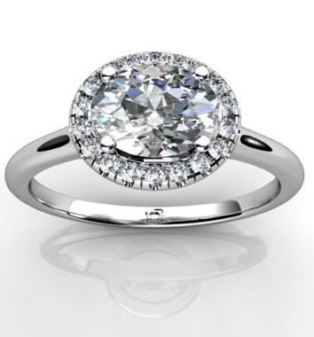 Oval Shaped Halo Engagement Ring in 14k White Gold