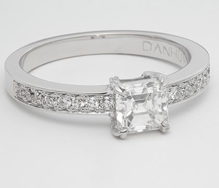 Pave Engagement Ring in White Gold