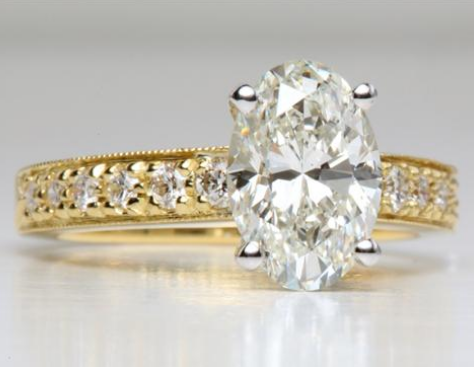 Pave Engagement Ring in Yellow Gold