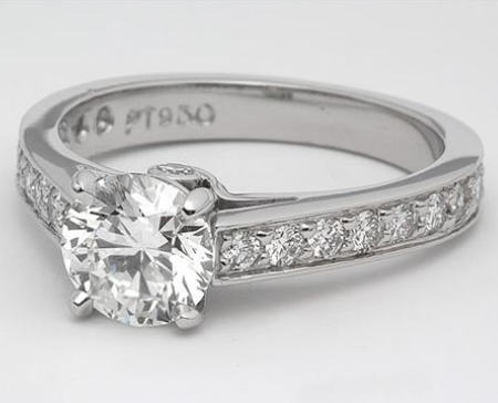 Pave Engagement Ring With Cathedral Setting in Platinum