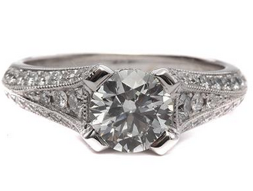Pave Side Stone Split Shank Engagement Ring in 14k White Gold
