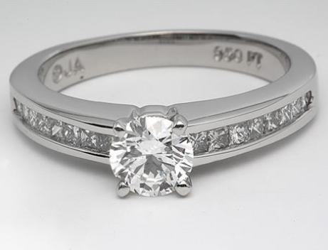 Channel Set Princess Cut Platinum Engagement Ring