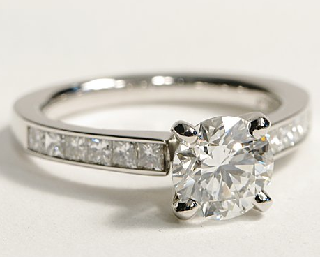 Princess Cut Channel Set Engagement Ring in Platinum