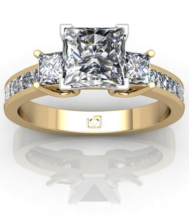 Princess Cut Three Stone Channel Set Engagement Ring in 14k Yellow Gold