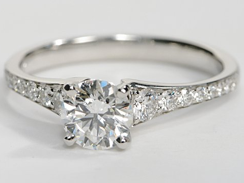 Reverse Taper Pave Engagement Ring in 14k White Gold