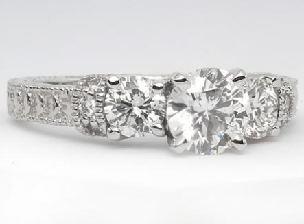 Royal Antique Engraved Engagement Ring with Side Stones in Platinum