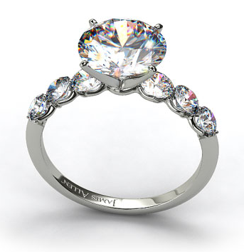 Scalloped Sidestone Engagement Ring in Platinum