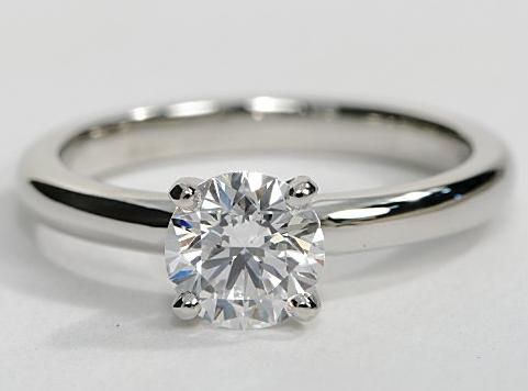 Solitaire Comfort Fit Engagement Ring in Platinum