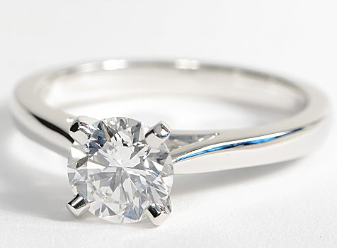Solitaire Engagement Ring with Tapered Cathedral Setting in 18k White Gold