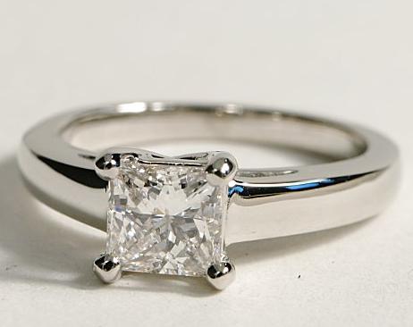 Solitaire Trellis-Style Platinum Engagement Ring