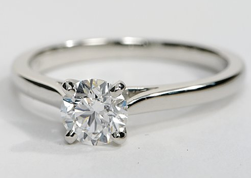 Tapered Cathedral Solitaire Engagement Ring Engagement