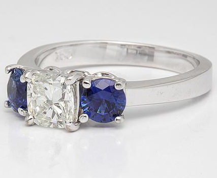Three Stone Engagement Ring with Blue Sapphires in 18k White Gold