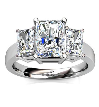 Three Stone Radiant Cut Engagement Ring