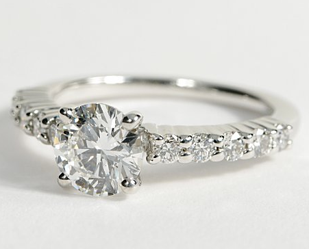 10 Sidestone Engagement Ring in 14k White Gold