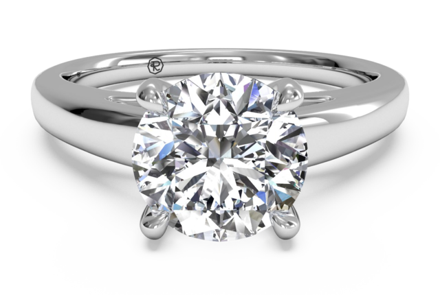Cathedral Solitaire Engagement Ring with Surprise Diamonds in 14k White Gold