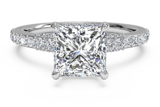 French-Set Pave & Micropave Engagement Ring in Platinum
