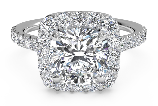 Halo Engagement Ring with French-Set Pave Diamonds in 18k White Gold