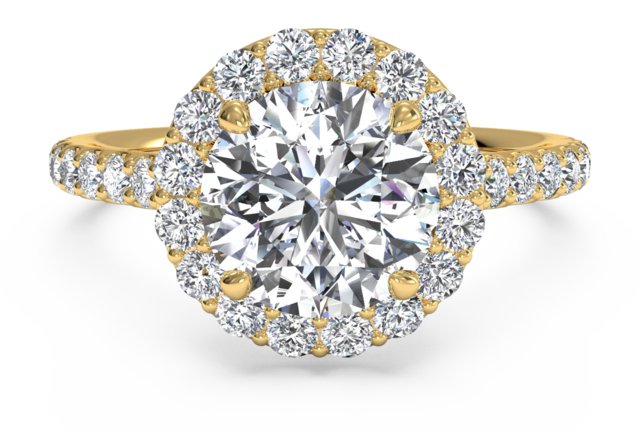 French-Set Halo + Pave Engagement Ring in 18k Yellow Gold