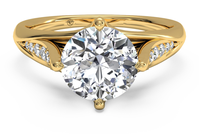 Modern Tulip Pave Engagement Ring in 18k Yellow Gold