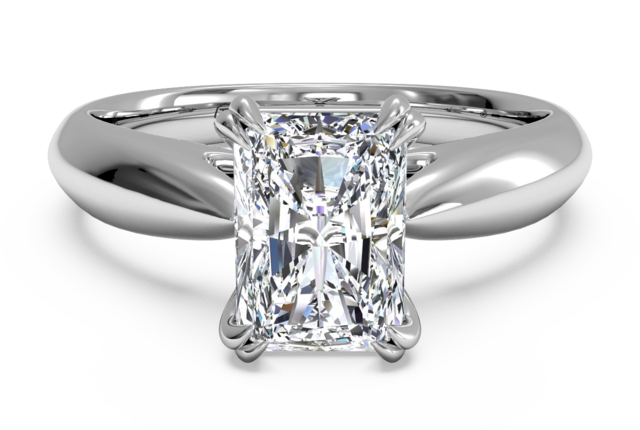 Graceful Solitaire Engagement Ring in 18k White Gold