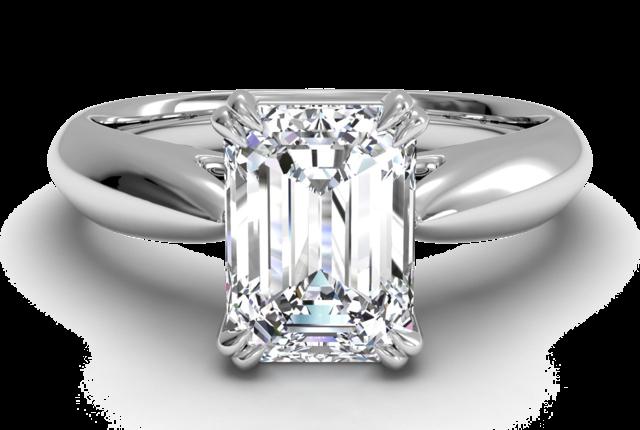 Flat-Edge Solitaire Engagement Ring in Platinum