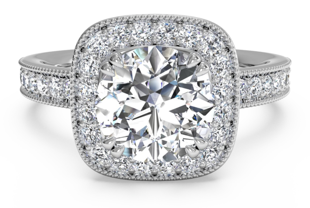 Vintage Style Cushion Cut Halo Engagement Ring and Surprise Diamonds in 18