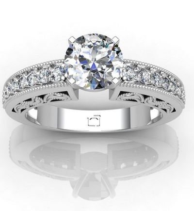 Antique Engagement Ring with Milgrain Detailing and Pave Diamonds in 14k White Gold