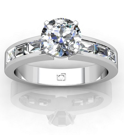 Baguette Channel Set Engagement Ring in 14k White Gold