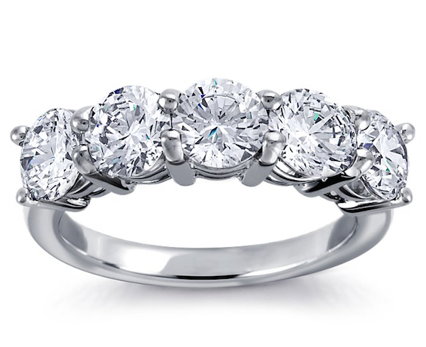 Build Your Own Five Stone Diamond Engagement Ring in Platinum