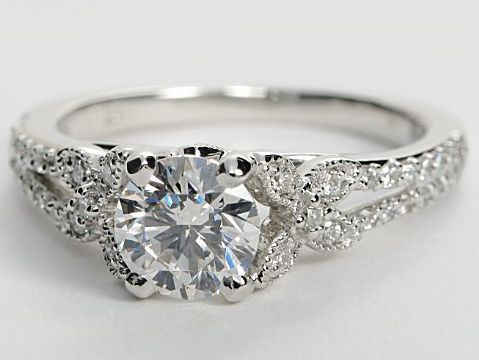 Pave Engagement Ring With Butterfly Design in 14k White Gold