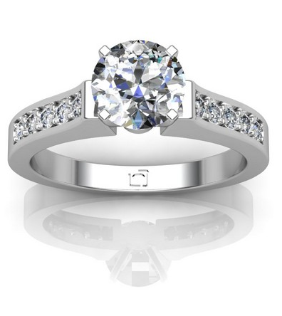 Channel Set Countour Engagement Ring in 14k White Gold