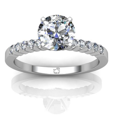 Common Prong Pave Engagement Ring in 14k White Gold
