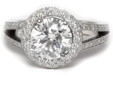 Double Halo Engagement Ring with Pave Split Shank in Platinum