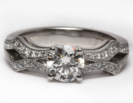 Double Row Pave Open Shank Engagement Ring In Platinum