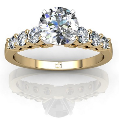 Graduated Sidestone Engagement Ring in 14k Yellow Gold
