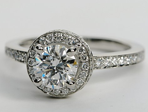 Halo & Pave Diamond Engagement Ring in Platinum